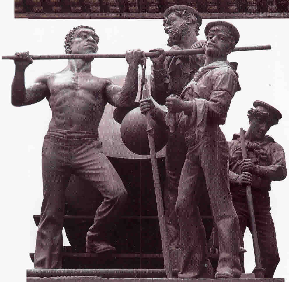 Mortar Practice Grouping Soldiers sailors Monument