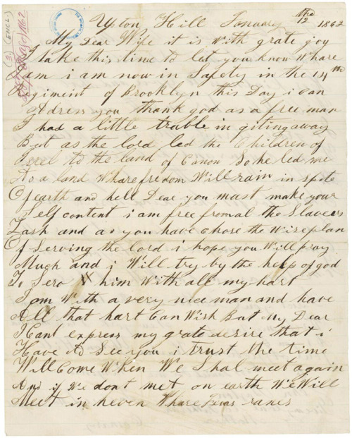 John Boston Letter to enslaved wife