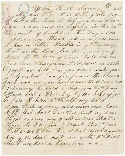 John Boston Letter to enslaved wife